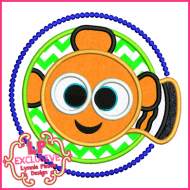 Clown Fish Circle Applique 4x4 5x7 6x10 7x11