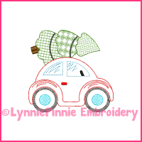 ColorWork Christmas Tree Buggy Car Sketch Embroidery Design 4x4 5x7 6x10 7x11