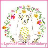 Vintage Flower Frame Bear ColorWork Sketch Embroidery Design 4x4 5x7 6x10 7x11