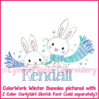 Winter Bunnies Vintage ColorWork Sketch Embroidery Design 4x4 5x7 6x10 7x11