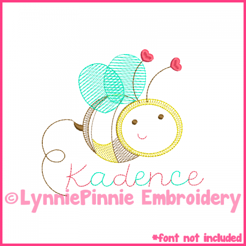 Valentine Heart Bee Colorwork Sketch Embroidery Design 4x4 5x7 6x10