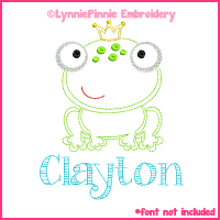 Little Frog Prince Colorwork Sketch Embroidery Design 4x4 5x7 6x10