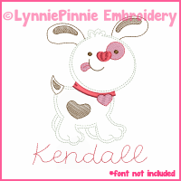 Valentine Heart Puppy Colorwork Sketch Embroidery Design 4x4 5x7 6x10