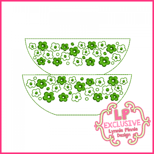 Colorwork Vintage Kitchen Bowls 1 Embroidery Design 4x4 5x7 6x10