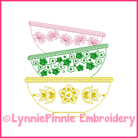 Colorwork Vintage Kitchen Bowls 2 Embroidery Design 4x4 5x7 6x10