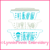 Colorwork Vintage Kitchen Bowls 3 Embroidery Design 4x4 5x7 6x10