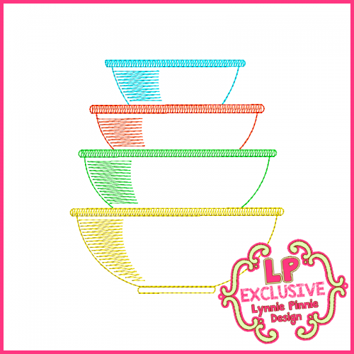 Colorwork Vintage Kitchen Bowls 5 Embroidery Design 4x4 5x7 6x10