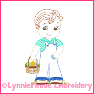 Vintage Easter Boy Colorwork Sketch Embroidery Design 4x4 5x7 6x10