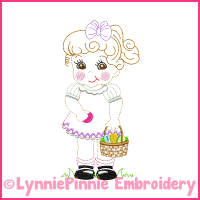 Vintage Easter Girl Colorwork Sketch Embroidery Design 4x4 5x7 6x10