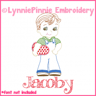 Vintage Valentine Boy Colorwork Sketch Embroidery Design 4x4 5x7 6x10