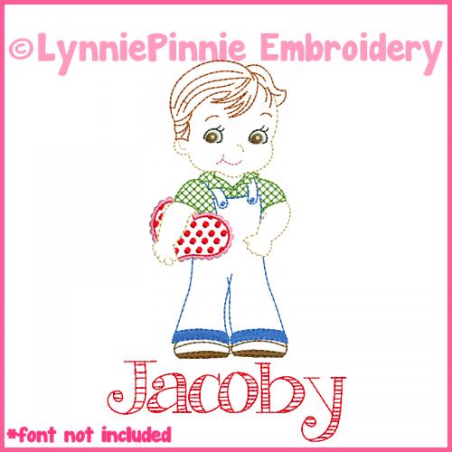 Vintage Valentine Boy Colorwork Sketch Embroidery Design 4x4 5x7 6x10