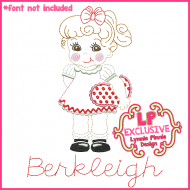 Vintage Valentine Girl Colorwork Sketch Embroidery Design 4x4 5x7 6x10