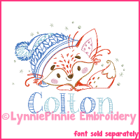 Vintage Winter Fox ColorWork Sketch Embroidery Design 4x4 5x7 6x10 7x11