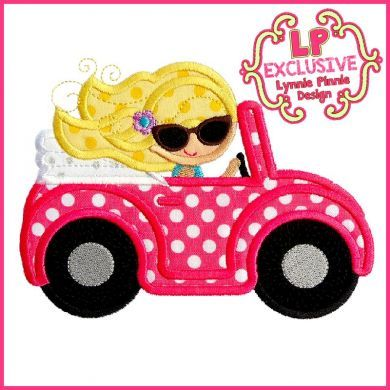 Convertible Buggy Car Girl 4x4 5x7 6x10 SVG