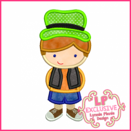 Cute Hat Boy Applique 4x4 5x7 6x10 SVG