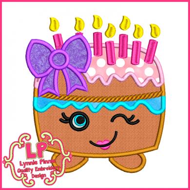 Cutie Kawaii Birthday Cake Applique 4x4 5x7 6x10 7x11 SVG Welcome