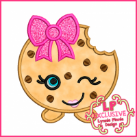 Cutie Kawaii Chocolate Chip Cookie Applique 4x4 5x7 6x10 7x11 SVG