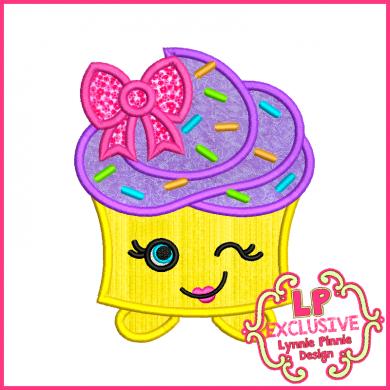 Cutie Kawaii Cupcake Applique 4x4 5x7 6x10 7x11 SVG