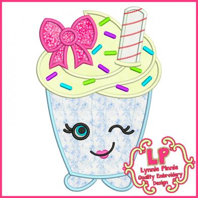 Cutie Kawaii Milkshake Applique 4x4 5x7 6x10 7x11 SVG