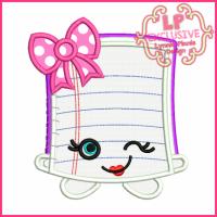 Cutie Kawaii Notebook Applique 4x4 5x7 6x10 7x11
