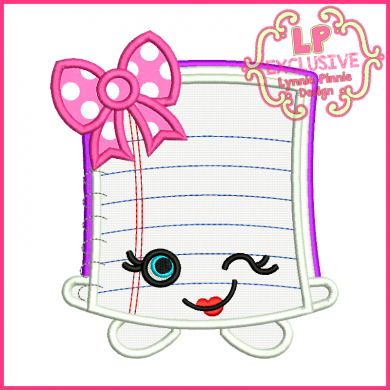 Cutie Kawaii Notebook Applique 4x4 5x7 6x10 7x11