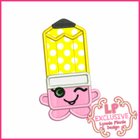 Cutie Kawaii Pencil Applique 4x4 5x7