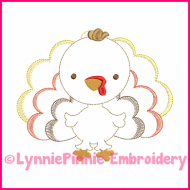 Turkey Colorwork Sketch Embroidery Design 4x4 5x7 6x10