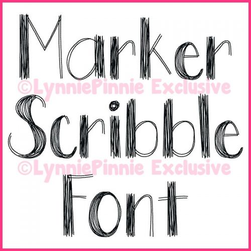 Marker Scribble Stitch Font Uppercase & Lowercase Font Uppercase & Lowercase DIGITAL Embroidery Machine File -- 3 sizes + BX