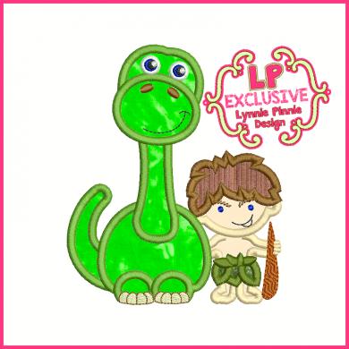 Dinosaur and Caveman Buddies Applique 4x4 5x7 6x10 7x11