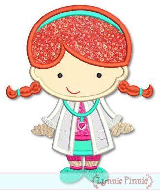 Little Cutie Doctor Girl Applique 4x4 5x7 6x10 SVG