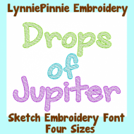 Drops of Jupiter BOLD Sketch Fill Font Uppercase & Lowercase DIGITAL Embroidery Machine File -- 4 sizes + BX