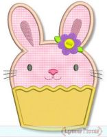 Easter Bunny Cupcake Applique 4x4 5x7 6x10