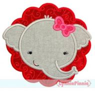 Elephant Girl Scallop Applique 4x4 5x7 6x10 7x11 SVG