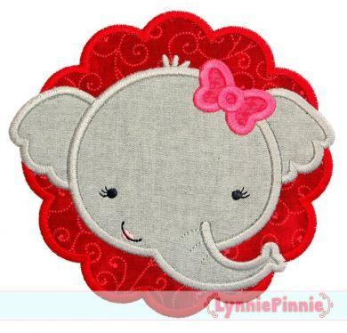 Elephant Girl Scallop Applique 4x4 5x7 6x10 7x11 SVG