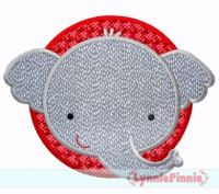 Elephant Circle Applique 4x4 5x7 6x10 7x11 SVG