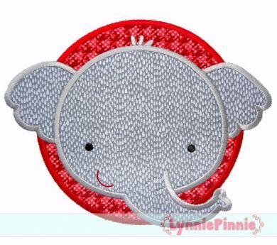Elephant Circle Applique 4x4 5x7 6x10 7x11 SVG