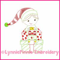 Elf Boy Colorwork Sketch Embroidery Design 4x4 5x7 6x10