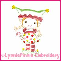 Elf Girl Colorwork Sketch Embroidery Design 4x4 5x7 6x10