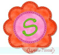 Applique Flower Font 2 Deco Edge 4x4 5x7