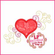 Fancy Swirls Heart Applique 4x4 5x7 6x10