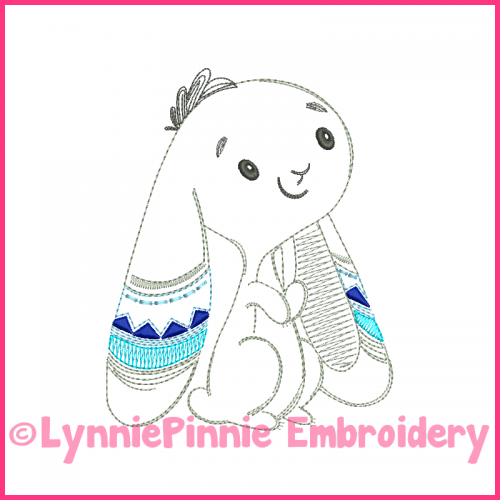 Colorwork Tribal Bunny 2 Vintage Boy Sketch Machine Embroidery Design File 4x4 5x7 6x10