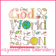 John 3:16 Word Art Vintage ColorWork Sketch Machine Embroidery Design File 4x4 5x7 6x10 7x11