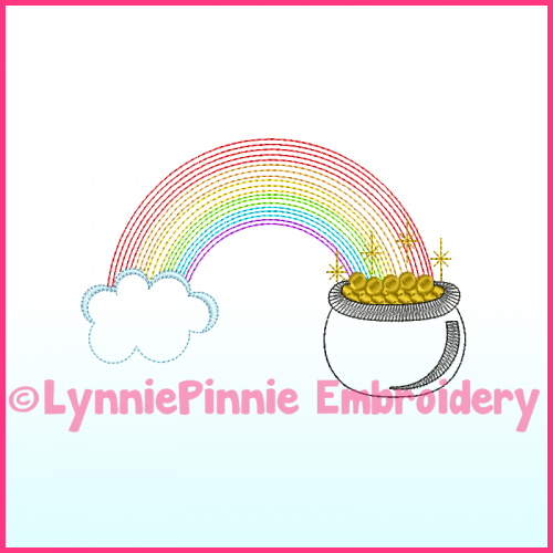 Colorwork Pot of Gold Sketch Vintage Machine Embroidery Design File 4x4 5x7 6x10