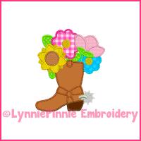 Triple Zig Zag Cowboy BOOT with Flowers Deco Applique Machine Embroidery Design File 4x4 5x7 6x10 7x11