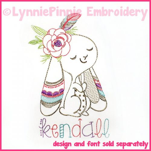 Colorwork Tribal Bunny Vintage Girl Sketch Machine Embroidery Design File 4x4 5x7 6x10