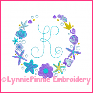 Mermaid Frame for Monogram 4 sizes 4x4 5x7 6x10 Frame ColorWork Sketch Machine Embroidery Design File