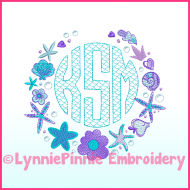 Mermaid Monogram Circle Scale Motif Sketch Embroidery Machine Font -- 3 sizes + BX