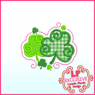Swirly Shamrocks Applique Machine Embroidery Design File 4x4 5x7 6x10