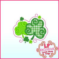 Swirly Shamrocks Applique Machine Embroidery Design File 4x4 5x7 6x10