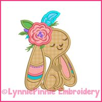 Tribal Bunny 1 Girl Applique Machine Embroidery Design File 4x4 5x7 6x10 7x11